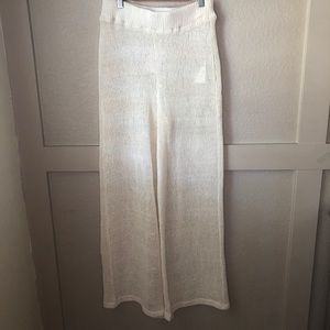 NWT- Free People knitted Ivory wide leg pants.